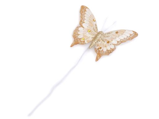 Motýľ s glitrami a kamienkami na drôtiku zlatá 6ks