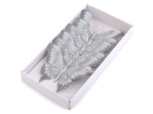 Motýľ s glitrami a kamienkami na drôtiku šedá 6ks