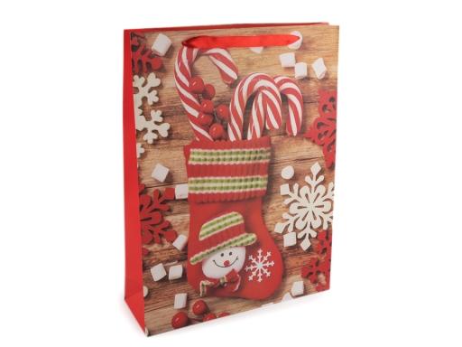 Darčeková taška vianočná veľká červená vianočná 1ks
