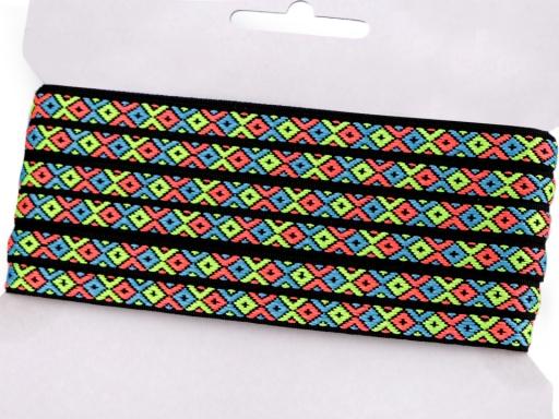 Prámik / vzorovka indiánsky motív šírka 10 mm neon modrá kobaltová 10m
