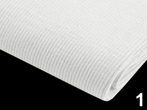 Úplet bavlnený elastický rebrovaný - tunel biela 1m