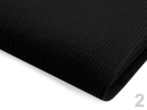 Úplet bavlnený elastický rebrovaný - tunel čierna 1m