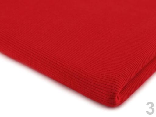 Úplet bavlnený elastický rebrovaný - tunel červená 1m