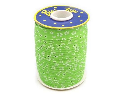Šikmý prúžok polyesterový šírka 20 mm kvety Jasmine Green 90m