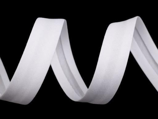 Šikmý prúžok umelá bavlna šírka 14 mm zažehlený biela 90m
