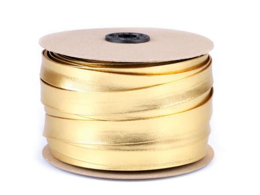 Šikmý prúžok koženkový šírka 20 mm strieborný, zlatý zlatá 1m
