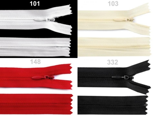 Špirálový zips skrytý šírka 3 mm dĺžka 55 cm Zinc 1ks
