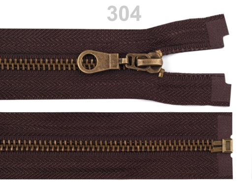 Staromosadzný zips šírka 6 mm dĺžka 75 cm bundový Chocolate Brown 10ks