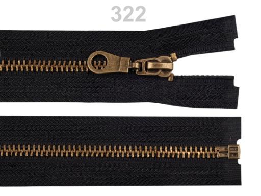 Staromosadzný zips šírka 6 mm dĺžka 75 cm bundový Black 10ks