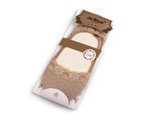 Ponožky do balerín s čipkou, bavlnené pudrová 1pár