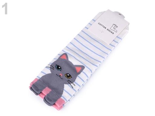 Dievčenské ponožky mačka biela 1pár