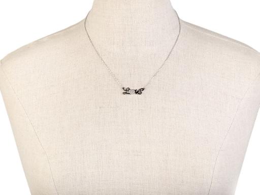 Náhrdelník sova, motýľ s kamienkami z nerezovej ocele platina 1ks
