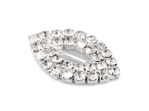Štrasová spona / ozdoba 14x24 mm crystal 100ks