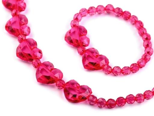 Detská sada náhrdelník a náramok so srdiečkami ružová 1sada
