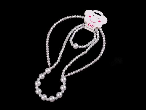 Detská sada perlový náhrdelník, náramok a čelenka biela 1sada