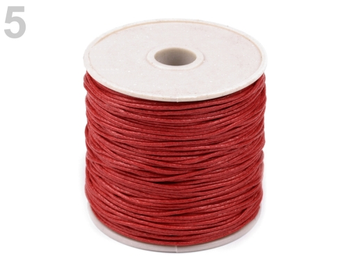 Šnúra bavlnená Ø1 mm voskovaná červená 1ks