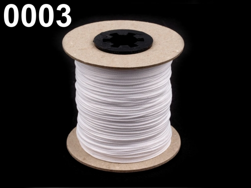 Odevná šnúra PES Ø1,5 mm White 500m