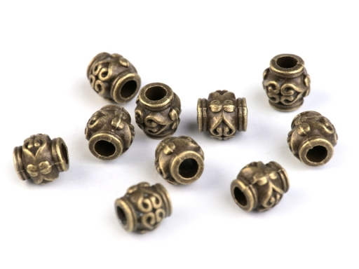Kovové koráliky / koncovky na šnúrky 6x6 mm staromosadz 10ks