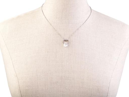 Náhrdelník srdce s kamienkom z nerezovej ocele platina 1ks