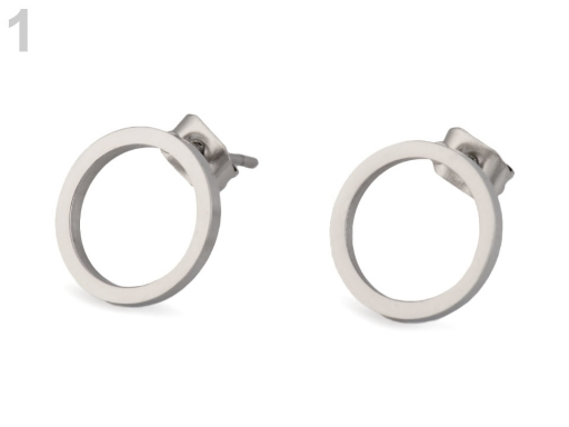 Náušnice krúžky z nerezovej ocele platina 1pár