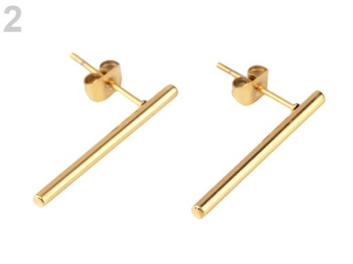 Náušnice tyčinky z nerezovej ocele zlatá 1pár