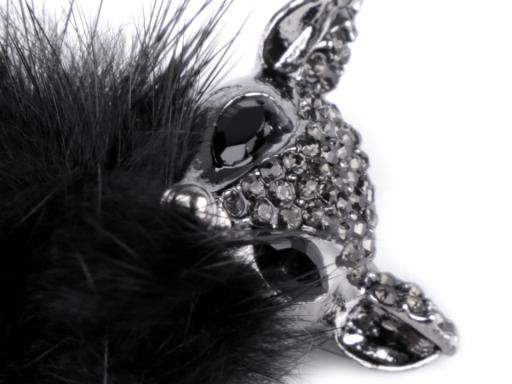 Brošňa líška s kožušinou a kamienkami biela 1ks