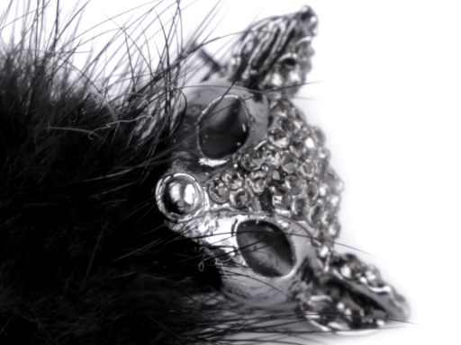 Brošňa líška s kožušinou a kamienkami čierna 1ks