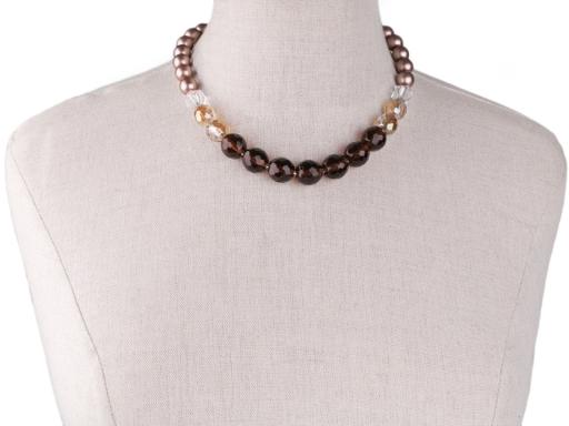 Perlový náhrdelník brúsený ohňovky čierna 1ks