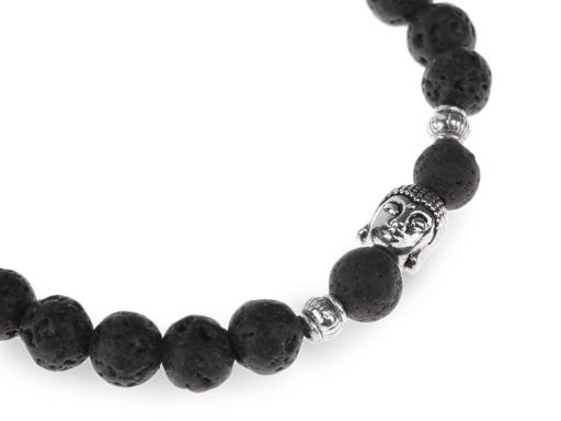 Buddha náramok čierna láva, pánsky čierna láva 1ks