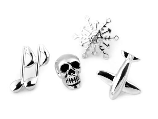 Brošňa / odznak na chlopňu vločka, lebka, noty, lietadlo platina 1ks