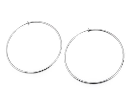 Náušnice kruhy na uši bez dierok z nerezovej ocele platina 1pár