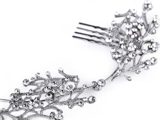 Štrasová ozdoba do vlasov s perlami a klincami crystal 1ks