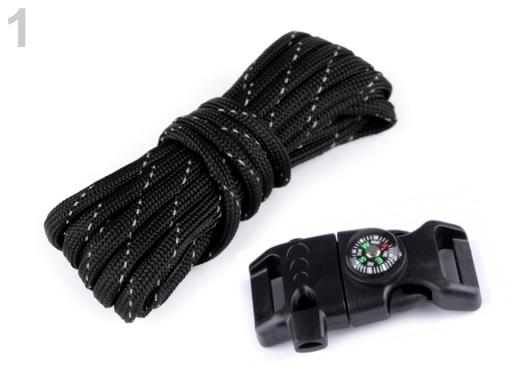Sada na výrobu náramkov z padákovej šnúry s kompasom, píšťalkou, nožom a kresadlom a křesadlem čierna 1ks