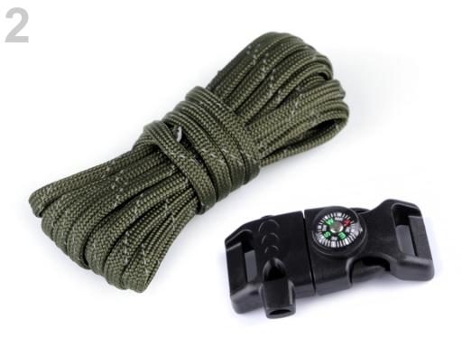 Sada na výrobu náramkov z padákovej šnúry s kompasom, píšťalkou, nožom a kresadlom a křesadlem zelená khaki 1ks