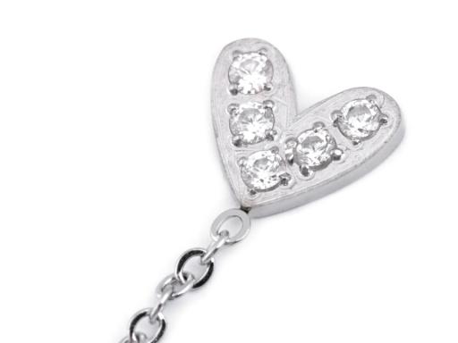 Náušnice z nerezovej ocele srdce s kamienkami platina 1pár
