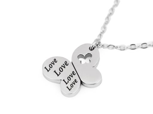 Náhrdelník z nerezovej ocele ovál, srdce, motýľ s nápisom Love platina 1ks