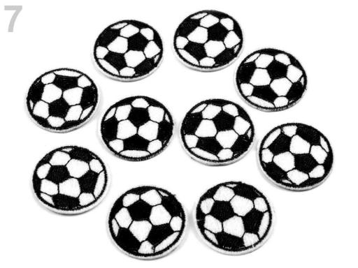 Nažehlovačka futbalová lopta bieločierná 10ks