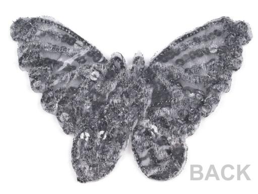 Nažehlovačka motýľ s flitrami červená 1ks