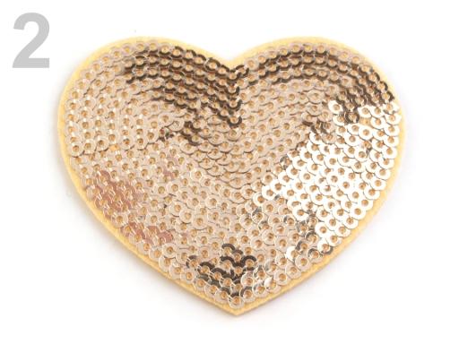 Nažehlovačka srdce s flitrami zlatá sv. 100ks