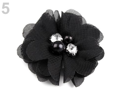 Textilný kvet Ø50 mm s kamienkami béžová najsv. 10ks