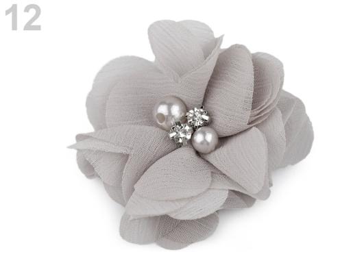 Textilný kvet Ø50 mm s kamienkami šedá 10ks