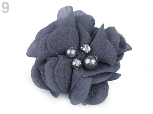 Textilný kvet Ø50 mm s kamienkami mint 10ks