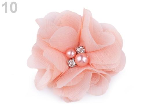 Textilný kvet Ø50 mm s kamienkami pudrová 10ks