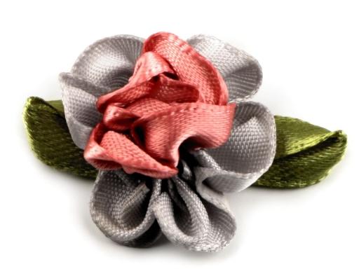 Saténový kvet 22x35 mm biela 10ks