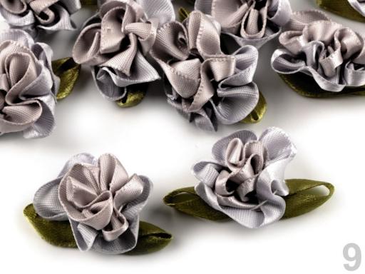 Saténový kvet 22x35 mm béžová sv. 10ks