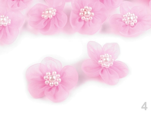 Monofilový kvet Ø30 mm s perlami krémová sv. 10ks