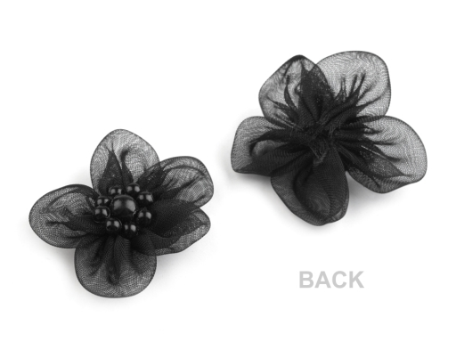 Monofilový kvet Ø30 mm s perlami lososová sv. 10ks