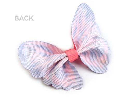 Textilná aplikácia 3D motýľ červená rumelka 2ks