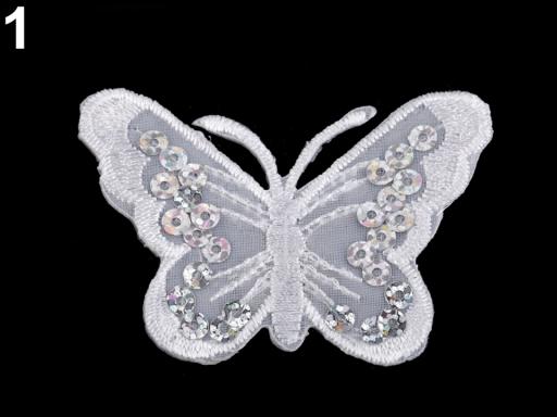 Nažehlovačka motýľ s flitrami biela 2ks