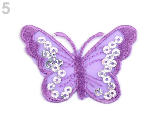Nažehlovačka motýľ s flitrami žltá 2ks
